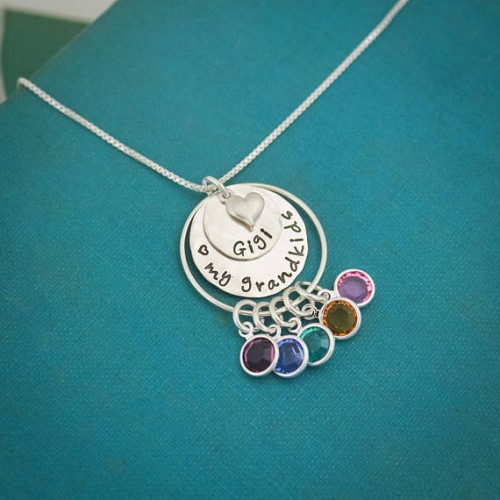 Love my Grandchildren Grandma's Layered Birthstone Necklace