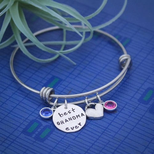 Best Grandma or Mommy Ever Bangle Bracelet