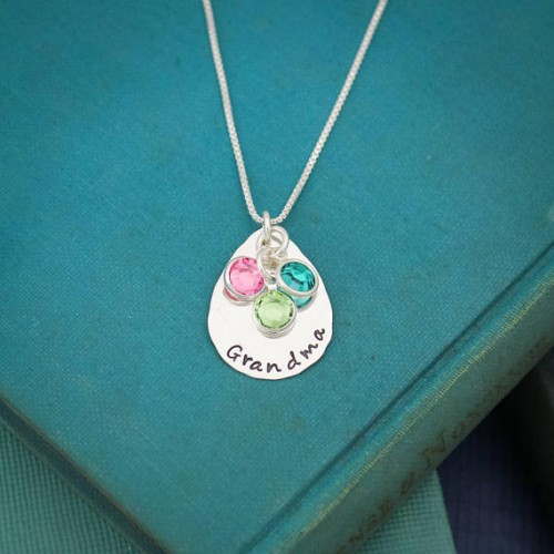 Grandma Drop Necklace with Birthstones