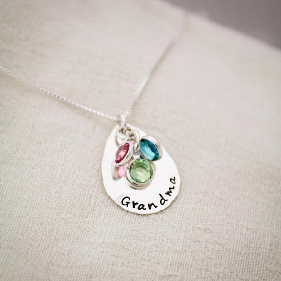 Grandma Drop Necklace With Birthstones Necklace