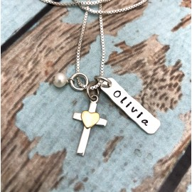 Personalized Silver Cross and Bronze Heart Necklace