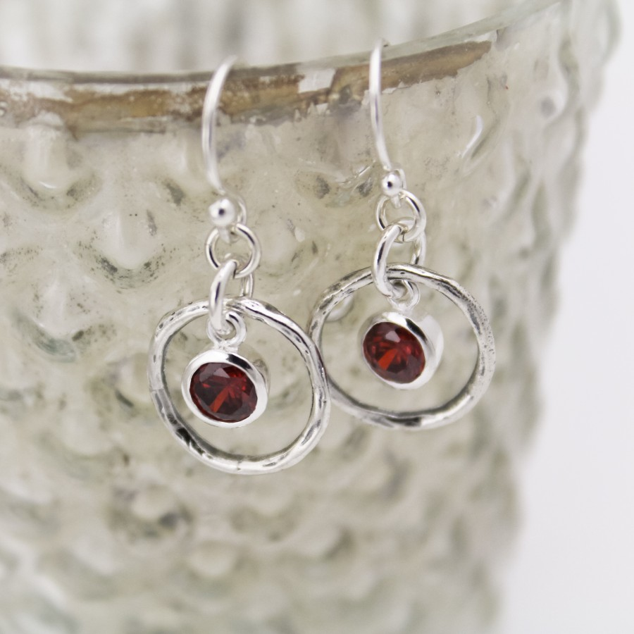 Rustic Birthstone Earrings In Sterling Silver Earrings