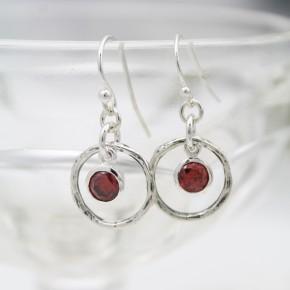 Rustic Birthstone Earrings in Sterling Silver