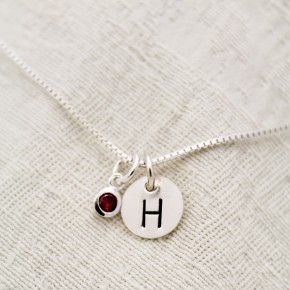 Birthstone Initial Necklace in Sterling Silver