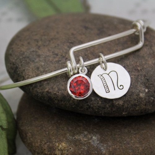 Birthstone and Initial Bracelet in Sterling Silver