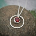 Rustic Birthstone Necklace in Sterling Silver