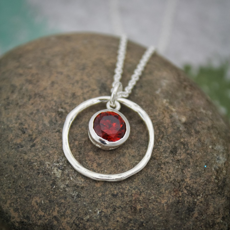 Rustic Birthstone Necklace In Sterling Silver Necklace