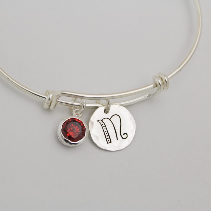 Birthstone Amp Initial Bracelet In Sterling Silver