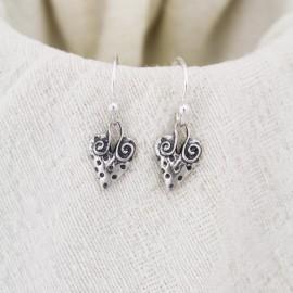 Polka Dot Heart Earrings in Sterling Silver