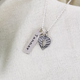 Heart of an Angel Personalized Tag Necklace