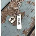 Personalized Boy's Square Cross Cut Out Silver Necklace