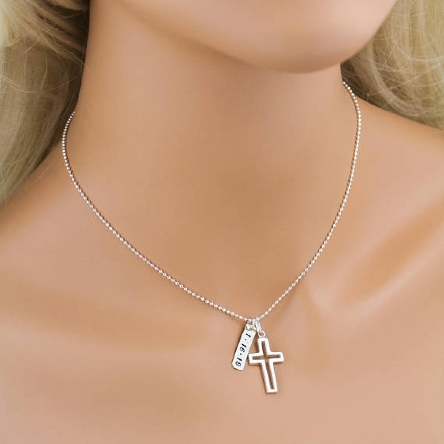 Fabulous Boy's Sterling Silver Cross Outline Necklace | Personalized Necklace UC94