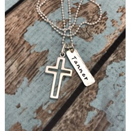 Boy's Sterling Silver Cross Outline Necklace with Date/Name