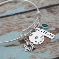 Bat Mitzvah Personalized Star of David Bangle Bracelet