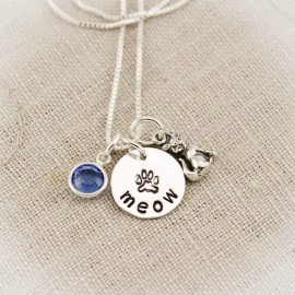 Cat Lovers Meow Charm Necklace