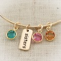 Bronze Sister Bangle Bracelet with Birthstone Charms
