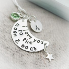 I Love You to The Moon and Back Personalized Necklace with Initial and Birthstone