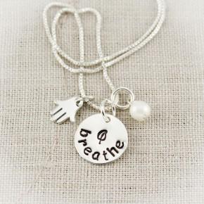 Breathe and Hamsa Hand Charm Necklace