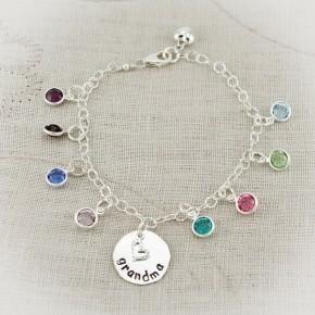 Nanny's Birthstone Charm Bracelet