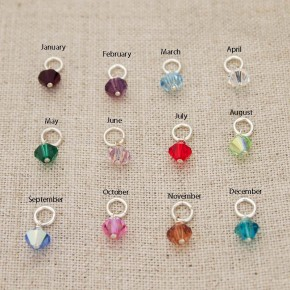 Bicone Swarovski Crystal Birthstone Charms in Sterling Silver