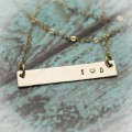 Personalized Horizontal Bar 14K Gold Filled or Rose Gold Filled Necklace