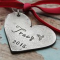 Heart Personalized Hand Stamped Christmas Ornament