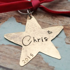 Personalized Christmas Golden Star Ornament