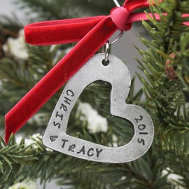 Personalized Couples Heart Christmas Ornament