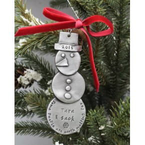 Snowman Christmas Ornament Personalized Hand Stamped