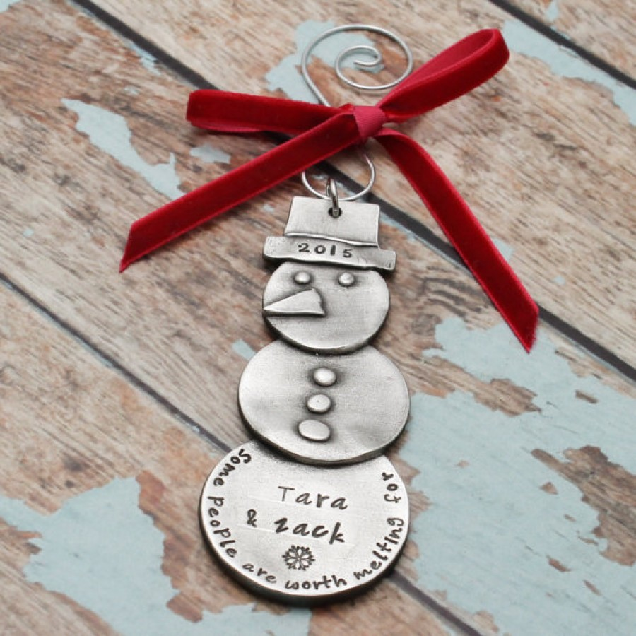 Personalized Hand Stamped Snowman Christmas Ornament