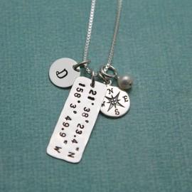 Latitude and Longitude Necklace - Petite Coordinate Jewelry