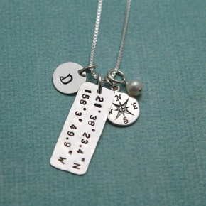 Latitude and Longitude Necklace - Petite Coordinate Jewelry