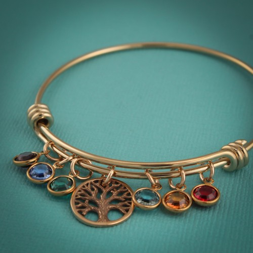 Tree of Life Bangle Bracelet in Gold