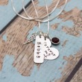 Remembrance Memorial Heart and Angel Wing Necklace in Sterling Silver