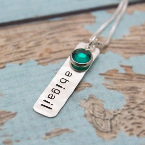 Love Tags with Birthstones Mother's Necklace