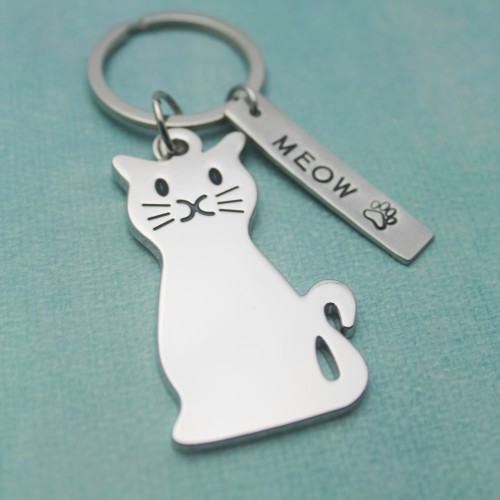 Meow Personalized Cat Keychain