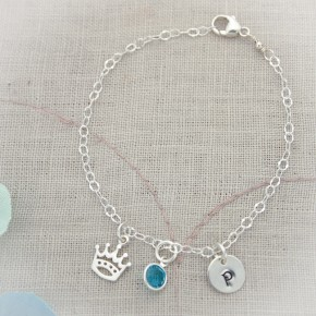 Perfect Dainty Bracelet with Initial, Birthstone and Charm