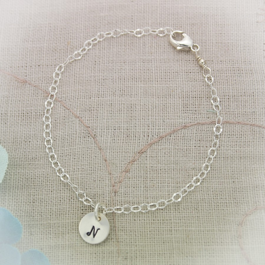 Simple And Sweet Initial Bracelet Sterling Silver Bracelet