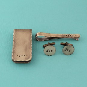 Men's Gift Set Cuff Links, Money Clip and Tie Clip Hand Stamped Personalized Grooms Gift