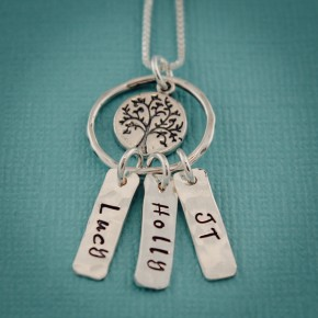 Tree of Life Mother Sterling Silver Personalized Children Family Necklace
