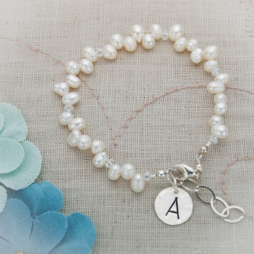 White Pearl Bracelet with Initial