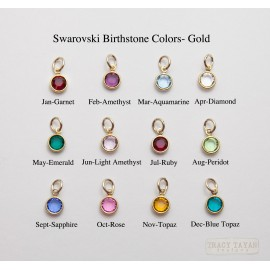Birthstone Charms Flat Swarovski Crystals in Gold
