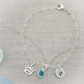 Sterling Silver Chain Anklet with Initial, Birthstone and Charm