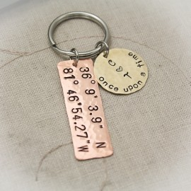 Latitude and Longitude Keychain with Disc