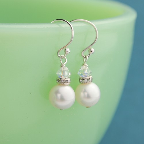 Classic Pearl Solitaire Earrings