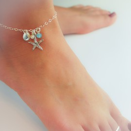 Sterling Silver Starfish Anklet