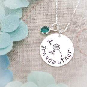 Dandelion Disc Necklace with Birthstones
