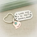 I Love You to the Moon and Back Keychain with Hearts and Birthstones