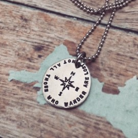 Not All Those Who Wander Are Lost Compass Necklace
