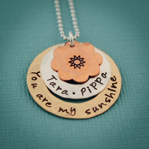 You Are My Sunshine Personalized Mother Necklace in Mixed Metals